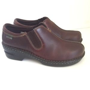 Eastland Slip On Clogs Loafers Brown Leather